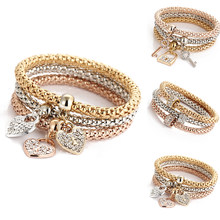 3Pcs/set Cubic Lock Elastic Bracelets Women Popcorn Corn Chain Bracelets Jewelry Fashion Cubic Zirconia Key Lock Jewelry(China)