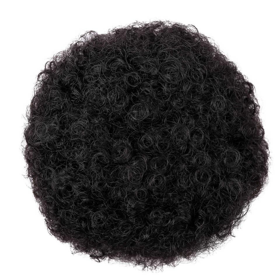 Difei Bladerdeeg Afro Krullend Chignon Pruik Paardenstaart Koord Korte Afro Kinky Pony Tail Clip In Op Synthetisch Haar Broodje Haar stukken