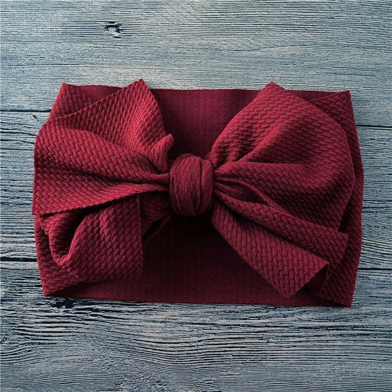 Newborn Large Bow Headwrap One Size Baby Girl Fabric Messy Bow Headband Nylon Headband Infant Hair Bows Turban Bowknot Tie