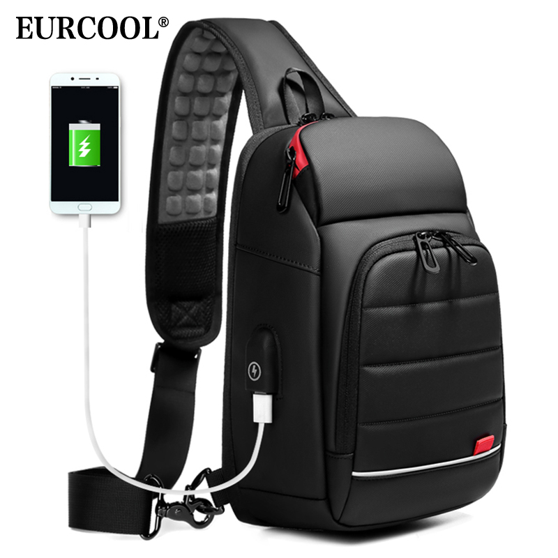 "EURCOOL 2019 NEW Men Chest bag for 9.7"" iPad USB Charging Short Trip Messenger Bags Water Repellent Crossbody Shoulder Bag n1901(China)"