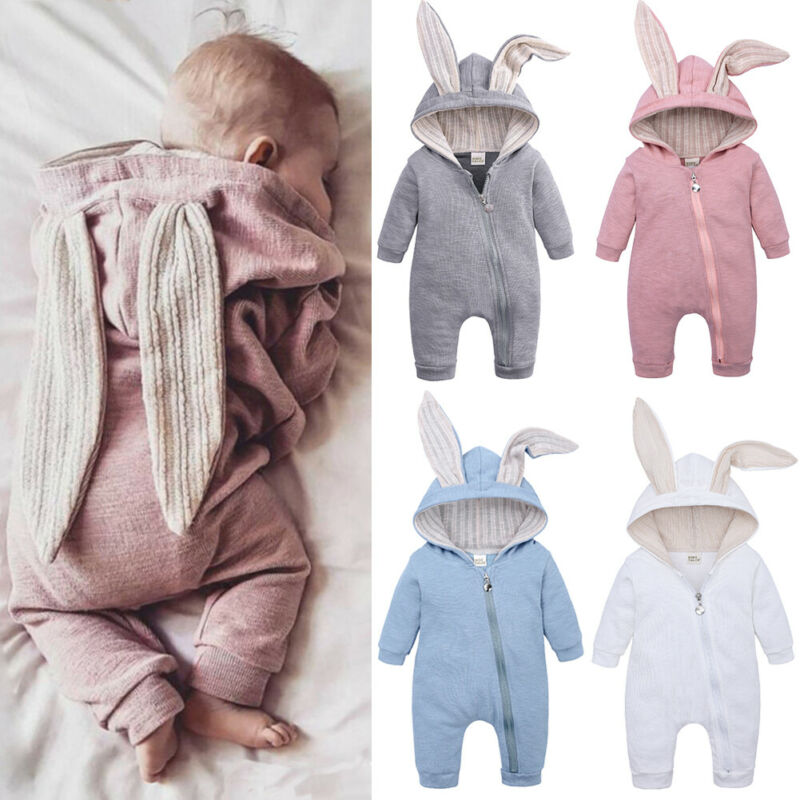 2019 Winter Autumn Newborn Baby Romper Outfits Cute Toddler Infant Boys Girls Hooded Solid Clothes With Ear Long Sleeve Jumpsuit