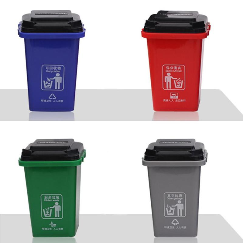 4pcs Mini High Quality Creative Flip Dustbin Trash Bin for Car
