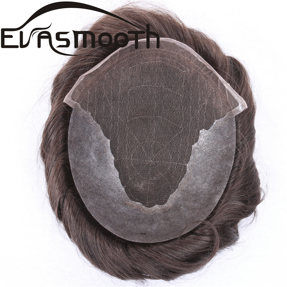 Raw Indian Hair Wig Human Hair Prosthesis Men Toupee Durable Hair System Skin Natural Hairline 0.04-0.08mm Hair System For Men