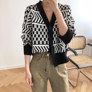 Image 1 - Women V neck Cardigan Sweater Coat 2019 Autumn Winter New Fashion Casual Comfortable Wild Patchwork Knit Cardigan Women Sweater