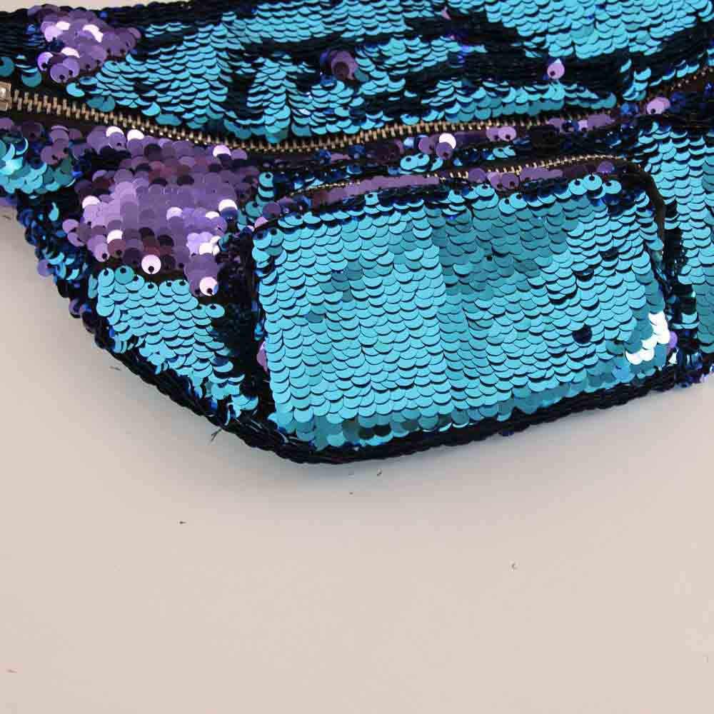 Mujeres chicas bling riñonera bolsa de cintura al aire libre deportes cremallera Casual doble Color lentejuelas streetwear bandolera bolsa de pecho 2019