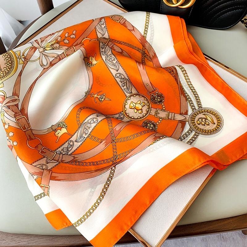 Bufanda de seda satinada para el pelo para mujer, pañuelo cuadrado con estampado de 70x70cm, para la cabeza, hijab pequeño para cuello