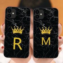 Пользовательский именной чехол для телефона для iphone 11 Pro Max с надписью монограмма черный мрамор Золотая Корона чехол для iphone X XR XS MAX 6 7 8 Pus