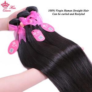 Image 4 - מלכת שיער חנות רשמית ברזילאי ישר חבילות עם סגירת 5x5 100% אדם שיער לא מעובד הארכת שקוף תחרה מוצרים