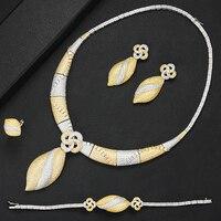 GODKI 4PCS Luxury Noble Jewelry Set Bangle Ring Necklace Dangle Earrings for Women Bridal Wedding Engagement Jewelry Sets 2020