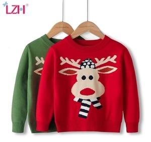 LZH 2020 New Winter Autumn Round Neck Cartoon Sweatshirt For Children Christmas Boy Clothes Knitting Double Layer Girls Sweater
