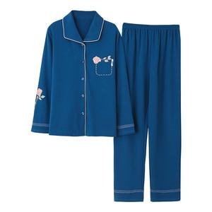 Image 3 - Azul escuro feminino outono & inverno 100% algodão pijama terno manga longa simples soild solto casa terno mais tamanho pijamas conjunto xl xxl xxxl