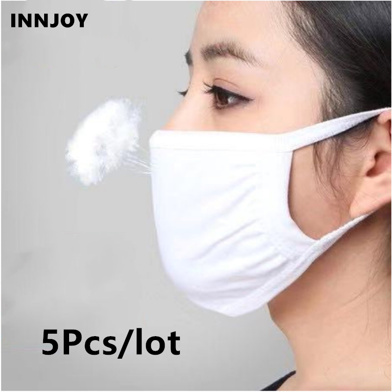 Cotton Air Dust Mouth Face Mask Unisex Dustproof Pollution Mask Anti Women Men Muffle Earloop Washable Mask Cycling 5pcs