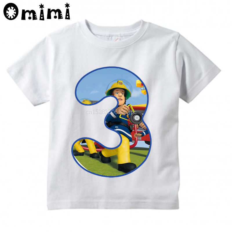 Kids Sam Fireman Number 1-9 Firefighter Design T Shirt Boys/Girls Letter Kawaii Short Sleeve Top Children's Funny T-Shirt,BAL617