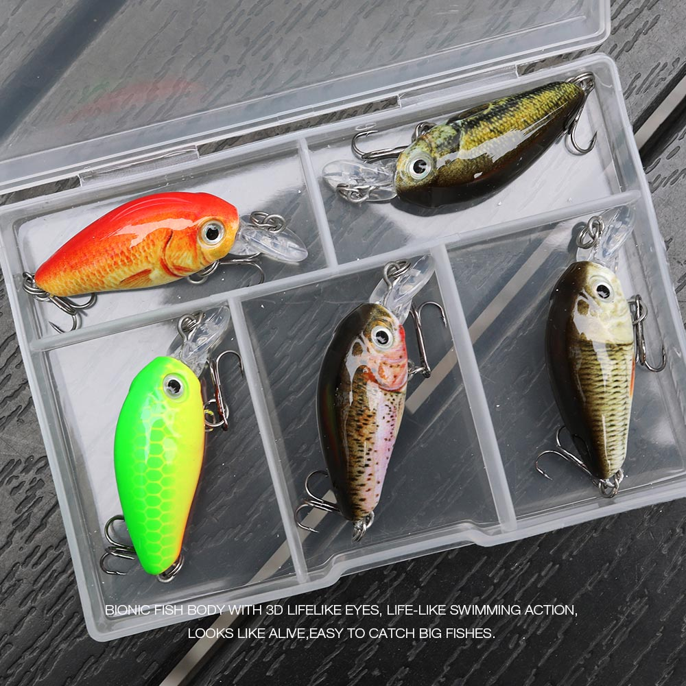 VTAVTA 5pcs 4g Mini Crankbaits Fishing Wobblers Sets of Lures for Fishing 3.5cm Swimbiat Floating Shad Trout Fishing Tackle Lure 7-2