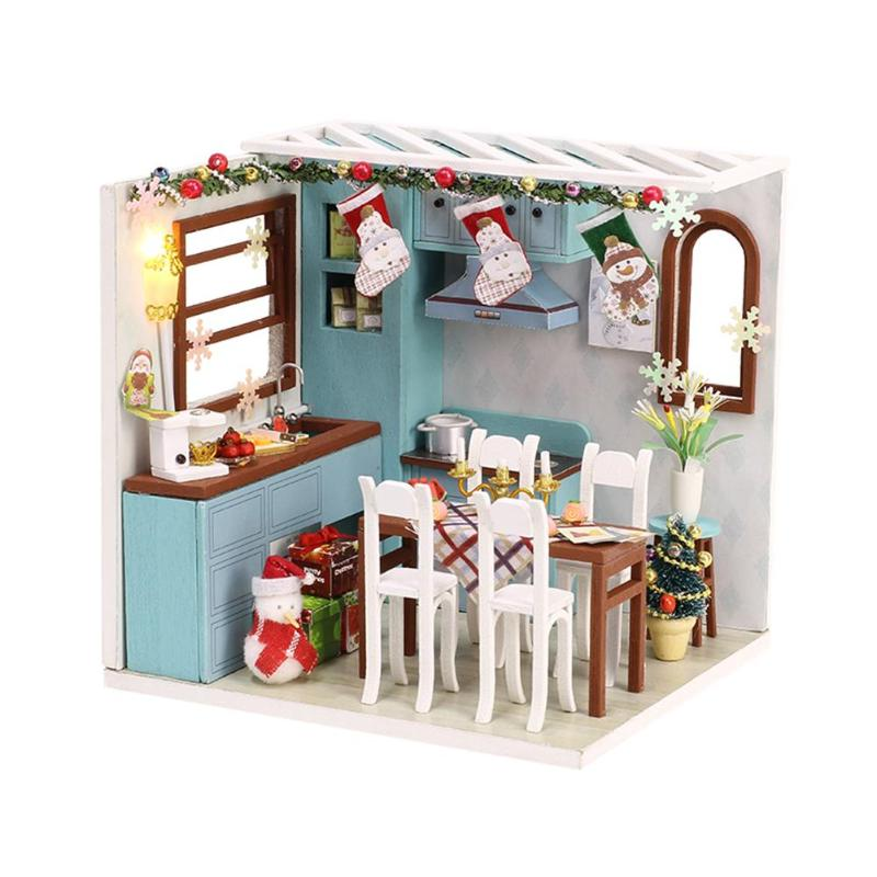 3D Christmas Jos Kitchen DIY Doll House 3D Wooden Miniature Dollhouse Furniture Toys For Kids W/Dustproof Sheet