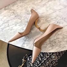 Fashion Women Pumps Genuine Leather Pointed Toe Slip On Meta