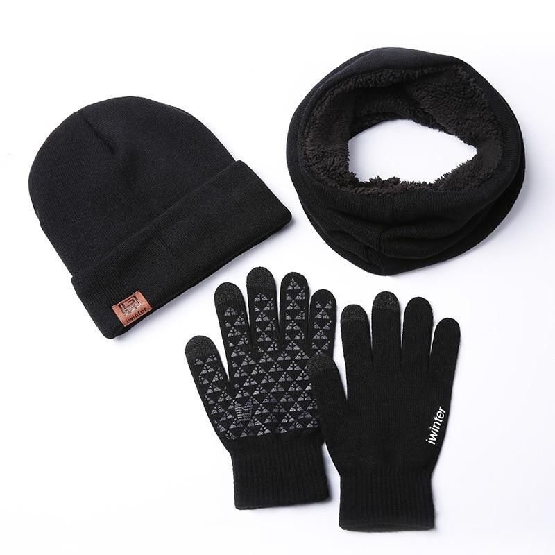 Set Scarf Hat Gloves Plus Velvet Fashion Warm Three-piece Knitted Men Women Touch Screen Winter Accessories For Women