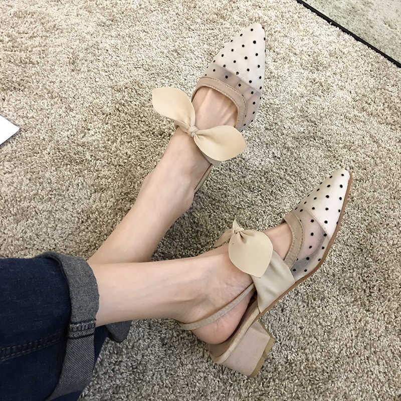 Frauen Schuhe Sandalen 2020 Sommer Neue Mode Bogen Spitz Mesh Gaze Dot Dicken Heels