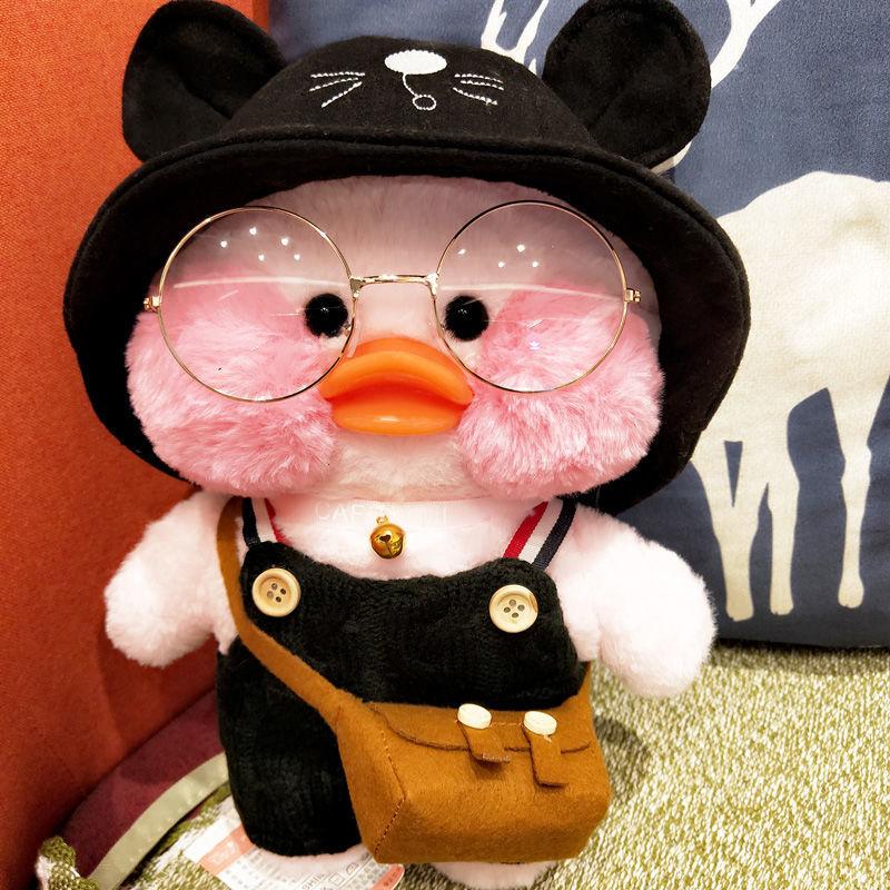 Розовая плюшевая игрушка LaLafanfan Kawaii Cafe Mimi желтая утка, 30 см, милая мягкая кукла, мягкие куклы-животные, детские игрушки, подарок на день рожден...