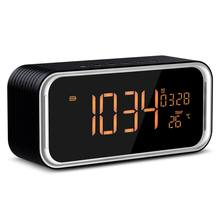 Protable Bluetooth Speaker Stereo Bass boombox LED Handsfree Mic FM Digital Alarm Clock LED Temperature Thermometer Clock Table(China)
