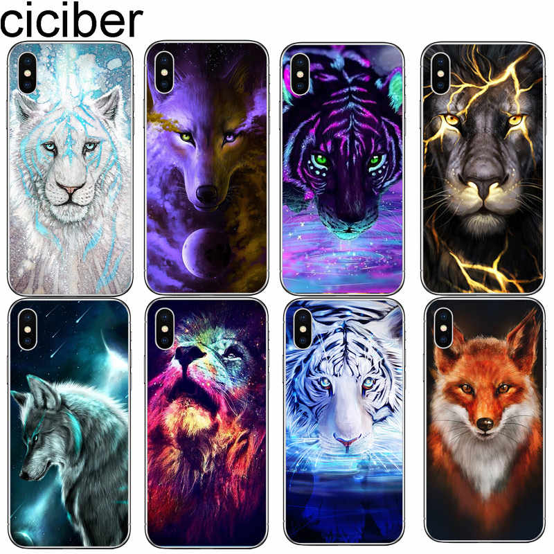 cicibers Animal Fox Tiger Wolf Phone Case for iphone 11 Pro Max X XR XS MAX 7 8 6 S Plus 5 5S SE Soft Silicone TPU Cover Coque