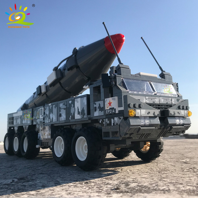 HUIQIBAO 1564pcs Military WW2 21D Missile vehicle Model Building Blocks Army 6 Soldier Bricks Weapon Car Truck Toys for children