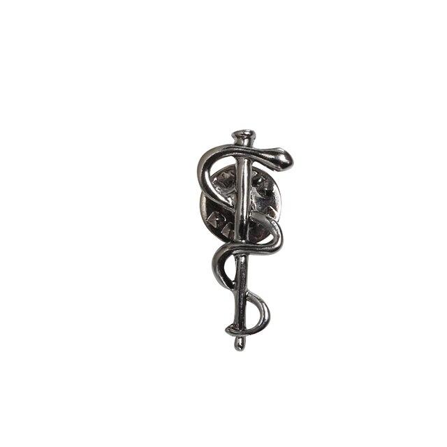 Dorado/plateado/Negro serpentín caduceo broches Metal solapa Pins Doctor enfermera médico bienestar insignia, símbolo de joyería