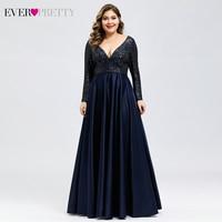Plus Size Satin Evening Dresses Ever Pretty Sequined Deep V Neck Long Sleeve Elegant Formal Dresses EP00817 Robe Soirée En Satin