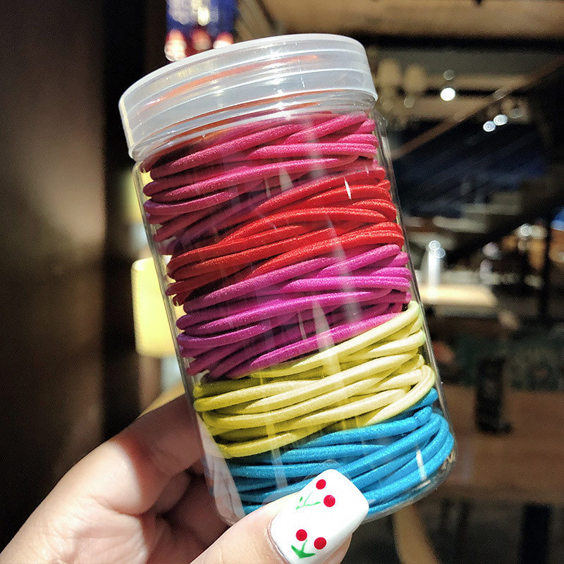 <font><b>100</b></font> Pcs Thick Rope Disposable Rubber Bands Kids Colorful Ring Elastic <font><b>Hair</b></font> Bands <font><b>Hair</b></font> Ropes Girls Scrunch <font><b>Tie</b></font> Gum Rubber Band image
