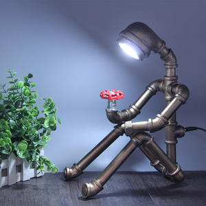 Table-Lamp Deco Robot-Bar Vintage Creative Retro Cafe Led LOFT Water-Tube Bedroom Industrial-Country