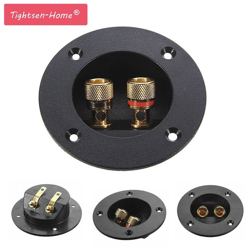 New Plug Round Boxes With 2 Banana Jack Subwoofer Speaker Terminal Connectors Glided