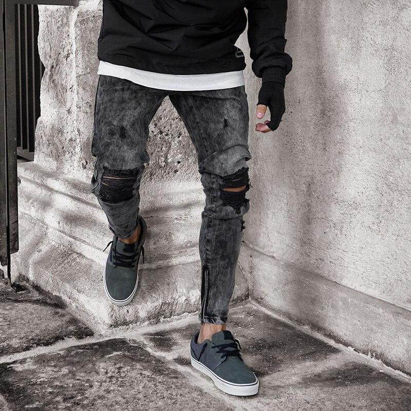 MJARTORIA Autumn New Arrival Men Denim Jeans Men Clothes Denim Pants Distressed Slim Fit Casual Trousers Stretch Ripped Jeans