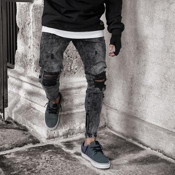 black men denim jeans slim fit casual stretch ripped jeans