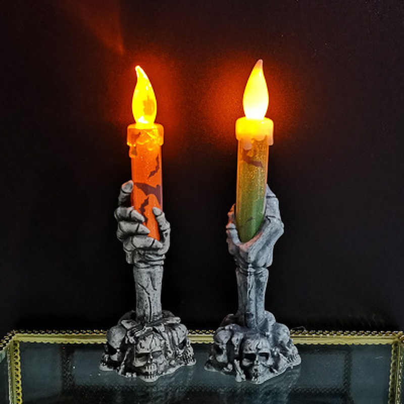Halloween Decoration Light Ghost Hand Candle LED Electronic Skeleton Candle Light Smoke-free Wedding Party Halloween Props