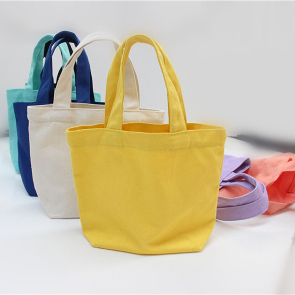New Solid Candy Color Canvas Tote Bag For Kids Lunch Bag Food Fashionable Baby Small Lunchbox Bag Marmita Infantis China Mujer