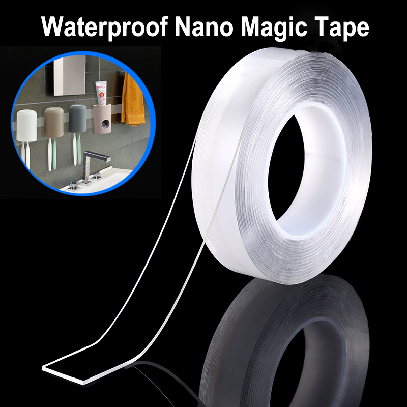 1M/3M/5M Nano Magic Tape Reusable Removable Washable Double Sided Sticky Strips Seamless Traceless Tape Adhesive Kitchen Holder