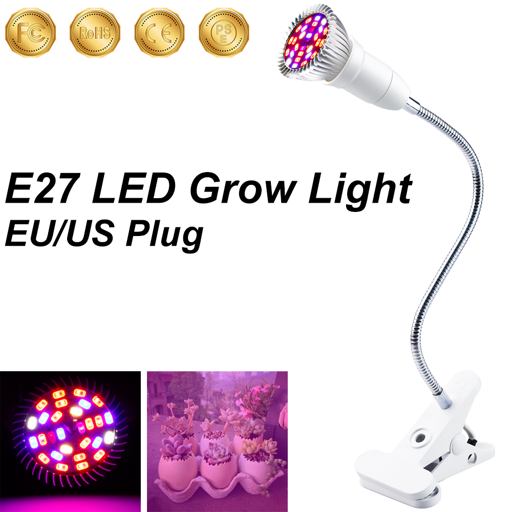 Growing Lamps LED Grow Light 2-Head Full Spectrum LED Grow Lights 18W 28W LED Horticole Indoor Lighting E27 Red Blue Bulb Clip