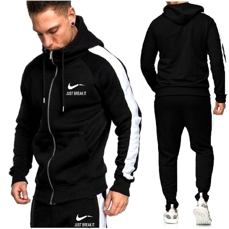 Brand New Zipper Men Sets Fashion Autumn winter Jacket Sporting Suit Hoodies+Sweatpants  1