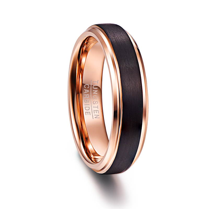6mm Black Color rose gold inside Men Rings 100percent Tungsten Carbide Wedding Bands Multi-size ring jewelry for male