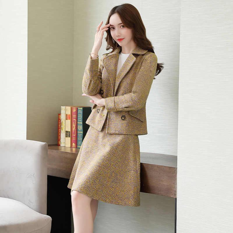 女性のスーツカジュアル女性のスカートスーツ秋と冬の新スリムダブルブレストブレザーファッション半身ツーピース高品質