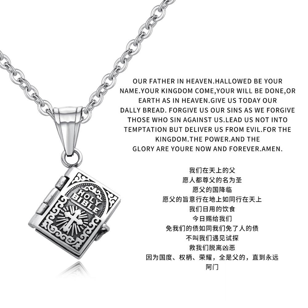 Marque bijoux rétro croix Bible hommes et femmes amoureux colliers peuvent ouvrir des pendentifs de prière pour des cadeaux de lettrage personnalisés - 2