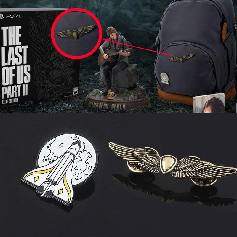 O último dos eua parte 2 ellie mochila pinos broche ouro escudo asas foguete nave espacial emblema broches para fãs jogo jóias presente