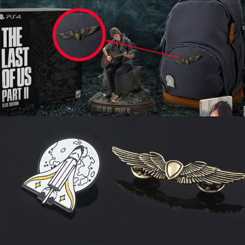 The Last Of Us Part 2 Ellie Backpack Pins Brooch Gold Shield Wings Rocket Spaceship Badge Brooches For Fans Game Jewelry Gift the last of us ellie costume adult halloween custom red t shirt suit for women hot game fancy shirt ellie outfit
