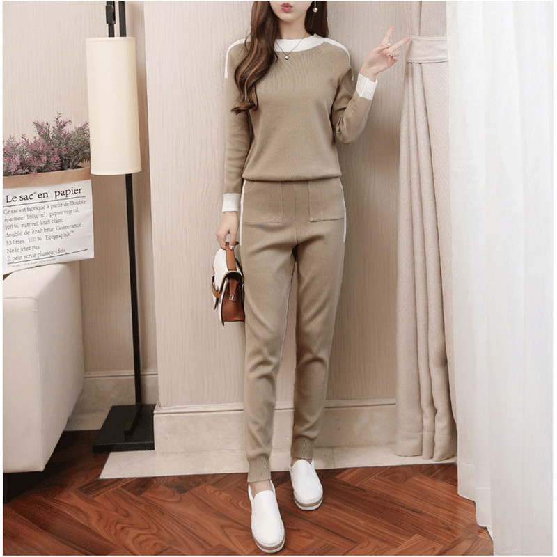 Autumn Winter Women Knitted Tracksuit Two-piece Suite Long Sleeve Sweater Pullover Set Elastic Waist Knitted Long Trousers Suit