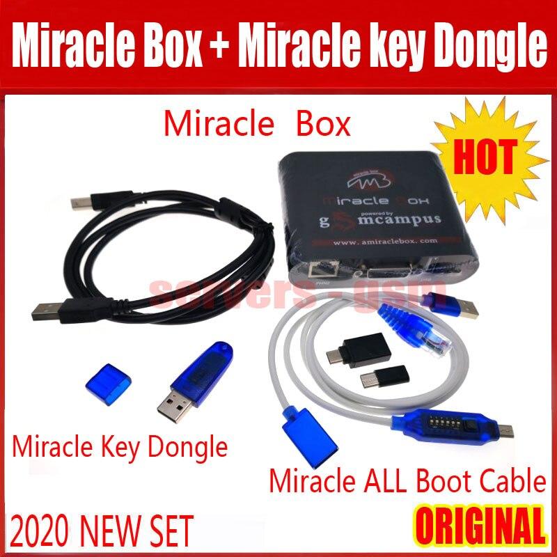 2020 plus récent Original boîte Miracle + Miracle tous les câbles de démarrage + clé Miracle Dongle pour la chine téléphones mobiles déverrouiller + réparation déverrouiller