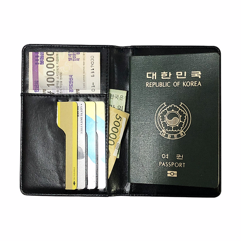 Black Cow Leather Checkbook Cover ID Card Slim Clutch Thin Wallet