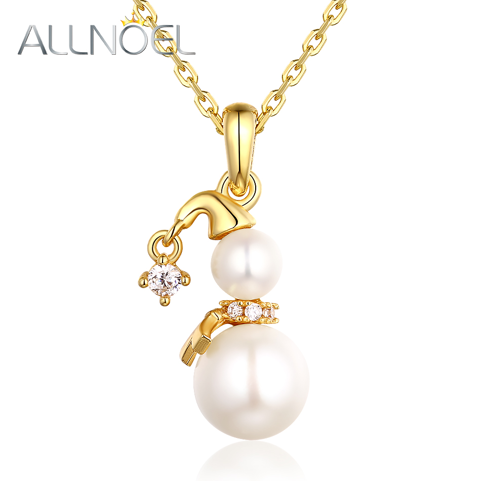 ALLNOEL Pendent Necklace Real Yellow Gold Color 925 Sterling Silver Natural Freshwater Pearl Snowman Fine jewelry Gift For Women (1)