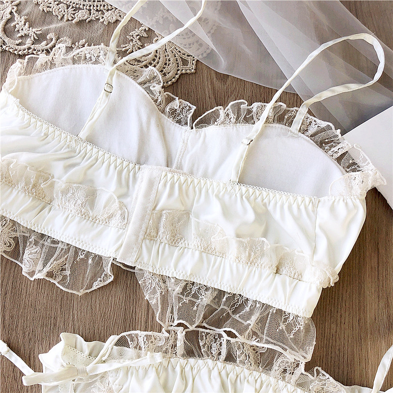 Image 5 - Wriufred Vintage satin lace wire free bandeau bra set private house sexy fairy lingerie sets nightwear cotton cup underwearBra & Brief Sets   -