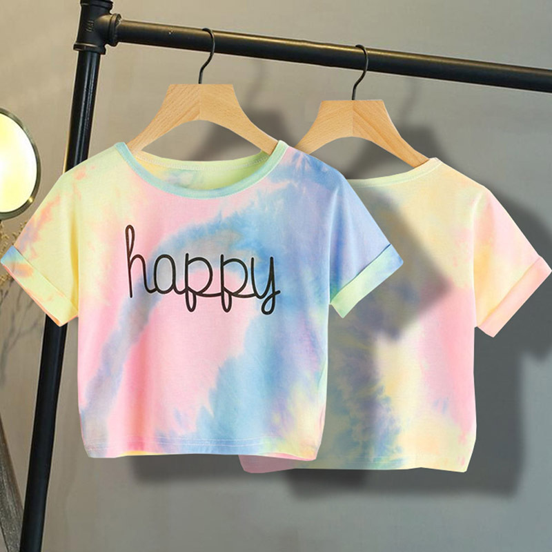 Summer Casual Girl T-shirt Round Neck Short Sleeves Sleeves Crop Soft Tie Dye Design Multicolor Clothing Girl T-shirt