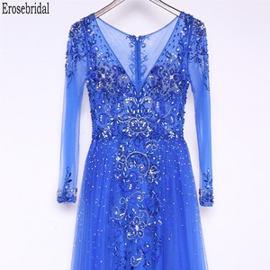 Image 4 - Erosebridal Royal Blue Prom Dress Long Sleeve 2020 New Fashion Elegant Long Formal Evening Gown Party Luxury Beaded Prom Gown